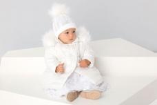 c46b5f30dc9f Krasnal CK002 Biela prešívaná detská dievčenská vetrovka s bielou kožušinou  na krst
